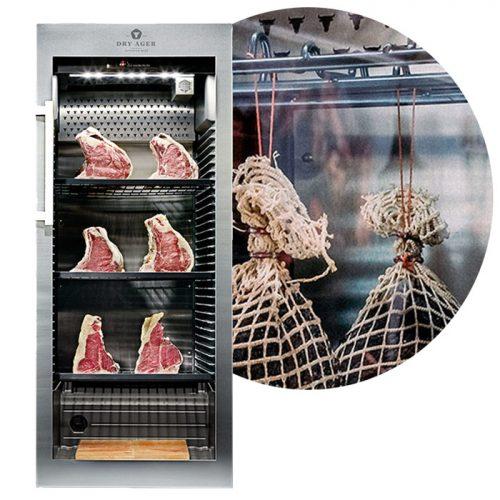Szafa do dojrzewania mięsa dx1000 z półką do podwieszania wędlin
